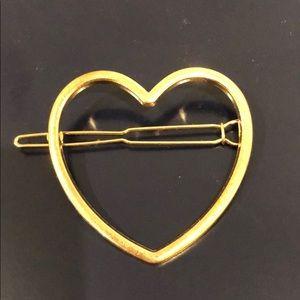Open Heart Gold tone barrette
